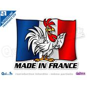 Autocollant MADE IN FRANCE COQ DRAPEAU